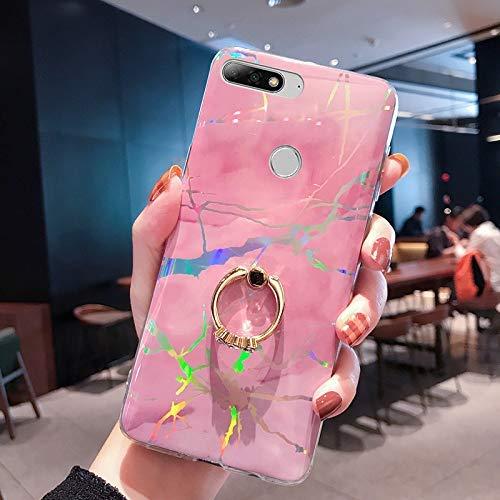 NSSTAR Compatible avec Huawei Honor 7C Coque avec avec Anneau Support Paillette Brillante Strass Marbre Motif Coque Silicone Antichoc Housse Étui TPU Ultra Mince Souple Bumper Housse,Rose