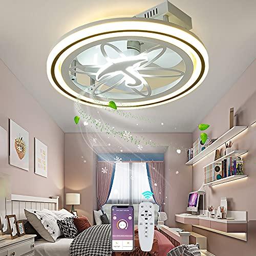 ZBYL Invisible Ventilador De Techo con Iluminación LED Lámpara de Techo Regulable con Mando a Distancia Ventilador De suspensión 3 Velocidades De Viento Silencioso Dormitorio salón Luz del Ventilador