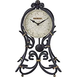 Howard Miller Vercelli Accent Mantel Clock 635-141 – Vintage Wrought-Iron with Quartz Movement