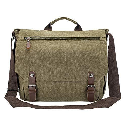 Bolsa de mensajero impermeable encerada de lona de 15 pulgadas para MacBook Pro de 14 pulgadas para ordenador portátil de negocios vintage bolso de hombro / maletín (verde ejército-2)