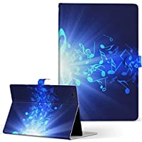 igcase TAB3 レノボ lenovotab3 softbank ソフトバンク タブレット 手帳型 タブレットケース タブレットカバー カバー レザー ケース 手帳タイプ フリップ ダイアリー 二つ折り 直接貼り付けタイプ 005985 クール 音符 青 ブルー