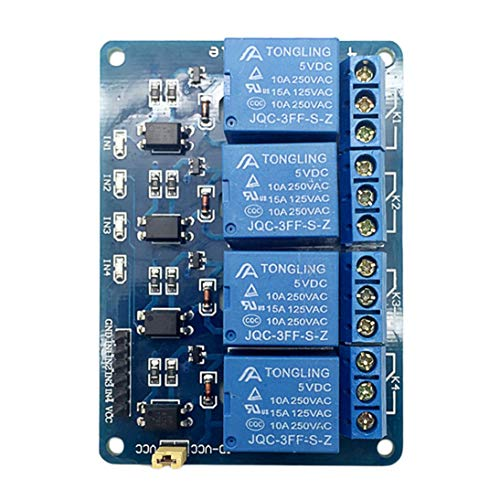 Blau 7.5x5.5x1.8cm 5V 4-Kanal-Relaismodul Schild Relais-Erweiterungsplatine für Raspberry Pi ARM AVR DSP PIC Micro-Controller - Blau