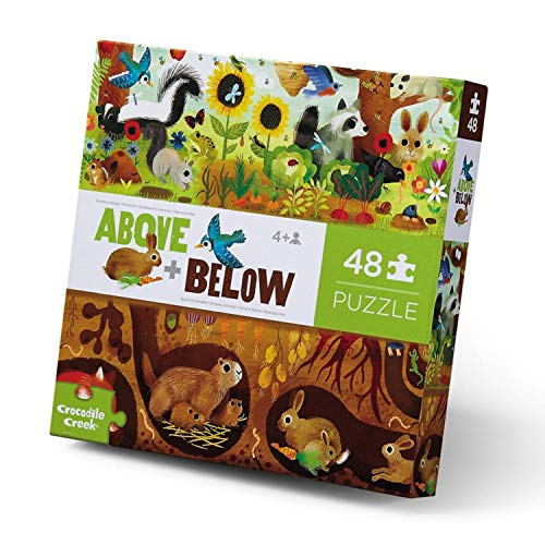 """Crocodile Creek - Above + Below Backyard Discovery - 48-Piece Jigsaw Floor Puzzle - for Kids Ages 4 Years and up - Heavy-Duty Box for Storage - Finished Puzzle is 27"""" x 20"""""""