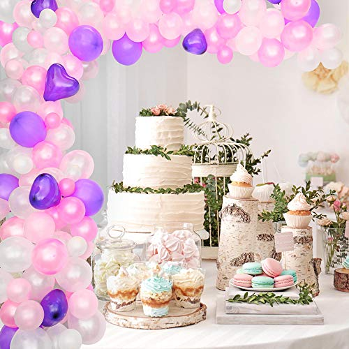 Balloon Arch Kit Balloon Garland kit, 115 Pieces, Birthday Party,  Wedding, Graduation, Baby Shower or Event Displays,  Picture or Photo Prop Backdrop, Pink, White, and Purple Colors