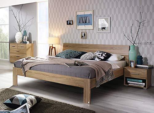 lifestyle4living Futonbett 180x200, Eiche Sonoma Dekor mit Kopfteil | Flaches Doppelbett für bodennahen Schlaf-Komfort