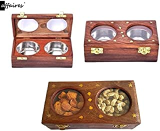 Wooden Dry Fruit Box / Masala Box / Spice Box With – 2 Storage Compartments for Decorative Accessories Gifting Christmas or Birthday by Affaires W-40157