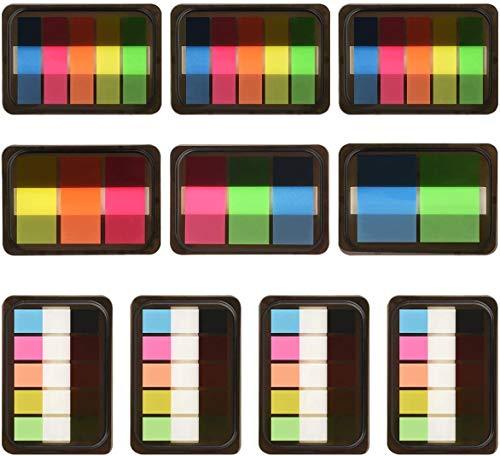 ZCZN selbstklebende Haftstreifen, 860 Blätter, 10 Stück, 5 Farben – mini Haftnotiz Textstreifen Index in 3 Größen, geeignet für Seitenmarker, Tabellen, Dokumenten