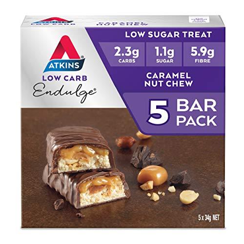 Atkins Endulge Caramel Nut Chew Bars   Keto Friendly Bars   5 x 34g Low Carb Caramel Chocolate Bars   Low Carb, Low Sugar, High Fibre   5 Bar Pack