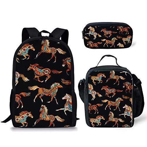 HUGS IDEA 38,1 cm Rucksack-Set, leichte Schultasche, Teenager, Jungen, Mädchen, Büchertasche für Mittelschule, Lunchbox, Federmäppchen Indisches Pferd 15 inch (3PCS Set)