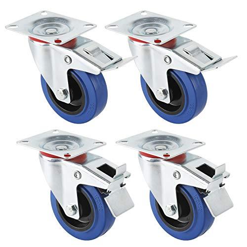 Transportrollen Industrie Schwerlastrollen Lenkrollen mit Bremse Blau Möbelrollen, Miafamily 4X Rollen mit Bremse, 125mm Rollen für Möbel, Tragfähigkeit 300KG