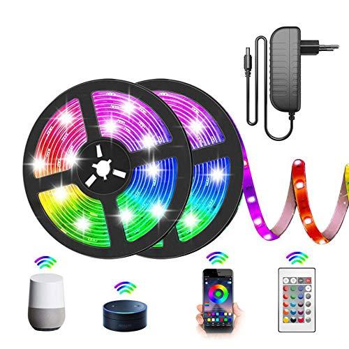 Tira De LED Bluetooth, Luz Smart RGB 5-15M, Tiras LED, Cinta Controlable Mediante Aplicación Y Control Remoto, Para Iluminación Decorativos En La Casa, Fiesta, Cocina, Bar [Clase Energética A]