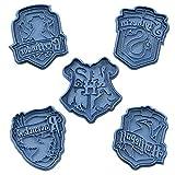Cuticuter Hogwarts Harry Potter Pack Cortador de Galletas, Azul, 16x14x1.5 cm, 5 Unidades