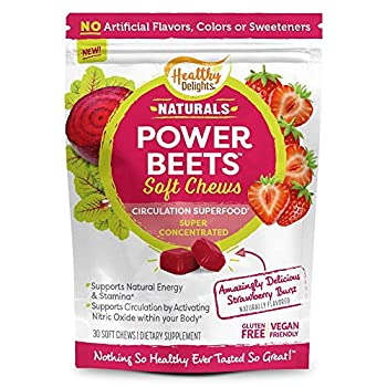 Healthy Delights Naturals Power Beets Soft Chews Super Concentrated Circulation Superfood Supports Natural Energy & Stamina Delicious Strawberry Burst Flavor 30 Count