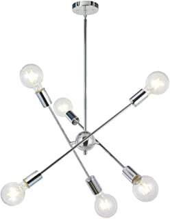 BAOLUCE Modern Sputnik Chandelier 6 Lights Chrome Mid Century Pendant Lighting Vintage Industrial Farmhouse Ceiling Light for Kitchen Dining Room Entryway
