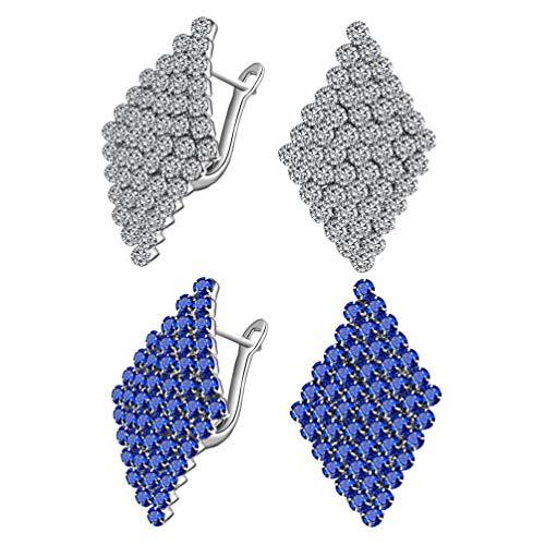 SOIMISS Pendientes de Diamantes de Rombo de 2 Pares Pendientes Geométricos Personalizados Accesorios de Joyería Decorativa para Damas Mujeres (Azul Blanco)