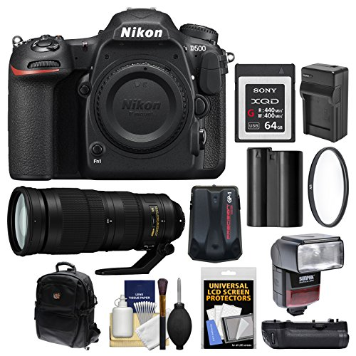 Nikon D500 Wi-Fi 4K Digital SLR Camera Body with 200-500mm f/5.6E VR Lens + 64GB XQD Card + Case + Flash + Battery/Charger + Grip Kit