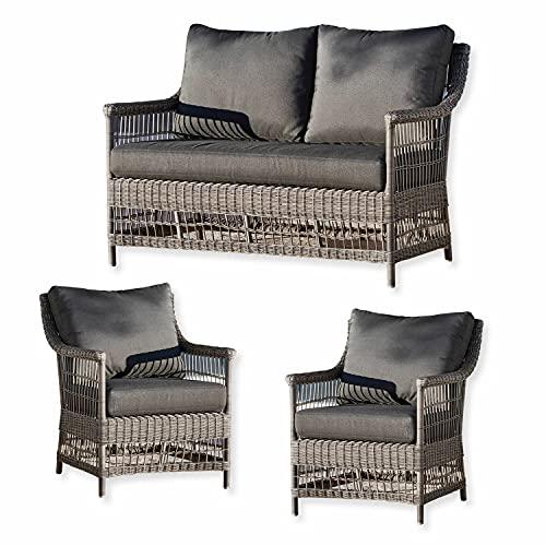 Loberon Salon de Jardin Montcenis - Dimensions d'assise du Fauteuil: H/L/P 45/60/55 cm, Dimensions d'assise du canapé: H/L/P 45/120/55 cm - Gris - Rotin synthétique