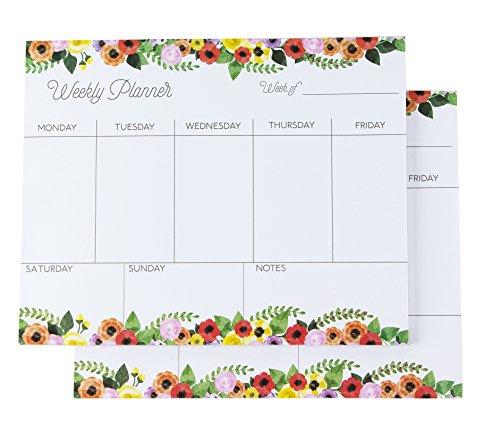 Wochenplaner von Paper Junkie (Set, 2 Blöcke mit je 52 Blatt) - Wochenübersicht ohne festes Datum - Ideal für To Do Listen, Diät-Planung, Termine - Blumen Design, Mehrfarbig, 20 cm x 25 cm