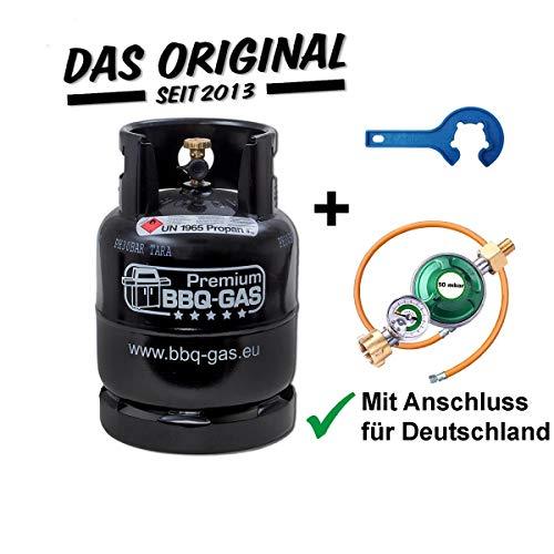 CAGO BBQ Gasflasche 8 kg ungefüllt mit Gasregler 50 mbar mit Manometer, Gas-Füllstandsanzeige und Schlauchbruchsicherung, Gasschlauch 100 cm, Gasflaschenschlüssel, f. Grill Unterschrank