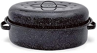 Granite Ware 0508-2 15-Inch Covered Oval Roaster, 15 inches, Black