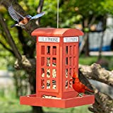NEROSUN Hanging Wild Bird Feeders for Outside, Red British Phone Booth Bird Feeder for Yard, Garden and Lawn Decorations