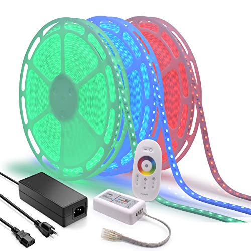 120Ft Long Run 24V RGB LED Strip Light Multi-Color Changing Crown Molding Accent Light Outdoor Waterproof Patio Deck Railing Rope Light Kit incl RF Touch Remote Controller and Power Supply