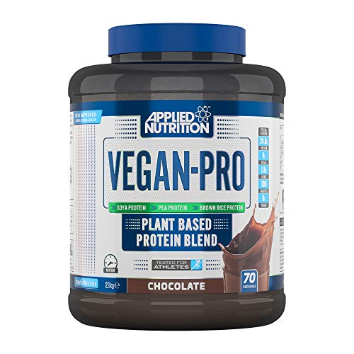 Applied Nutrition Vegan Pro Plant Based Protein Blend Powder Supplement Low Fat & Sugar Natural Flavour & Colour with Essential Amino Acids 2.1kg - 70 Servings (Chocolate)