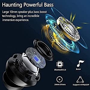 Wireless Earbuds, Upgraded Bluetooth Bass Sound Headphones, Wireless Earphones Built-in Noise Cancelling Mic with Type-C Fast Charging, 24H Playtime, IPX5 Waterproof, Touch Control for Sports, Work