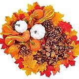218PCS / Set Juego de decoración de cosecha de Halloween, varios mini conos de pino de bellota de hoja de arce para bodas de otoño / Acción de Gracias / Suministros de decoración de mesa festivos nav