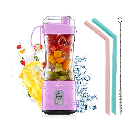 Portable Blender Personal USB Rechargeable Juice Cup for Smoothie and Protein Shakes Mini Handheld Fruit Mixer 13Oz Bottle for Travel Gym Home Office Sports Outdoors Chic Pink