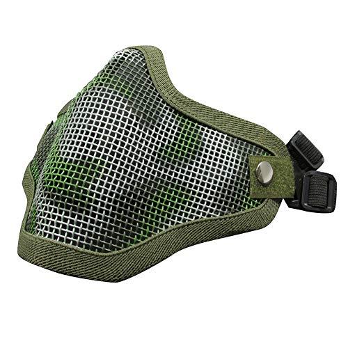 WorldShopping4U Airsoft Taktische Schützend Halbes Gesicht Metall Stahlnetz Maske für die Jagd Radfahren CS Halloween JC