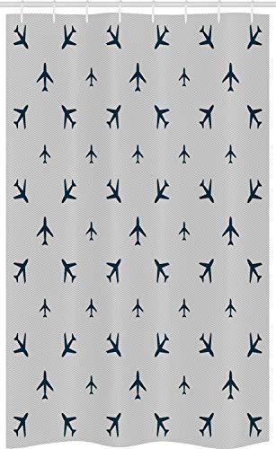 ABAKUHAUS Flugzeug Schmaler Duschvorhang, Reise-Ikonen-Streifen, Badezimmer Deko Set aus Stoff mit Haken, 120 x 180 cm, Blau & Grün Töne