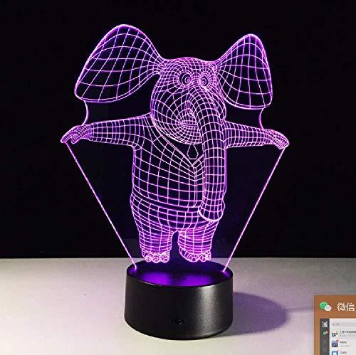 Lámpara De Escritorio De Mesa 3D De Elefante Lindo De 7 Colores, Luz De Noche Led, Altavoz Bluetooth Usb Acylic, Regalo Creativo