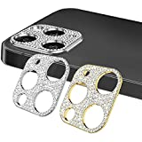 KONEE 【2 Piezas Bling Protector de Cámara Lente Compatible con iPhone 12 Pro MAX, [ Anti-rasguños, Anti-Burbuja ] Diamond Cámara Funda Protector de Pegatina para iPhone 12 Pro MAX (Oro + Plata)