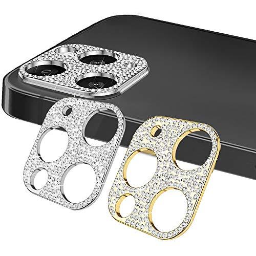 KONEE 【2 Stück Diamant Kamera Linse Schutzfolie Kompatibel mit iPhone 12 Pro Max, Anti-Kratzer Bling Objektivschutz Dekorationen Aufkleber Linse Protector Cover für iPhone 12 Pro Max (Gold + Silber)