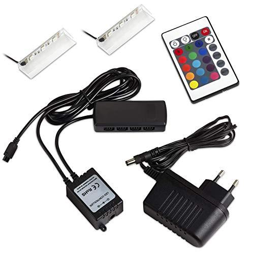 Set de 2 SO-TECH® RGB DEL/LED lampe pour vitres/vitrines incl. télécommande et multi fonction de changement de couleur (Classe d'énergie A++)