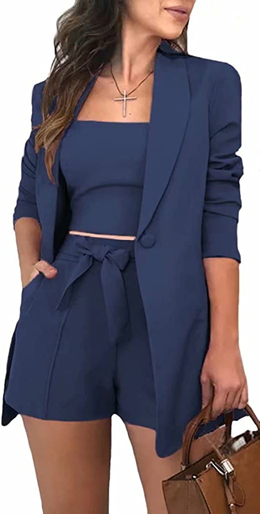 Women's 3 Pieces Outfit Open Front Long Sleeve Solid Button Down Blazers Jacket Shirt Shorts Suits Set OL Business Sets