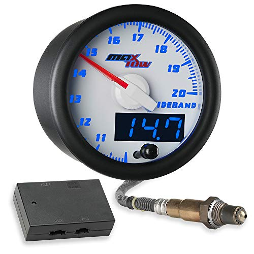 MaxTow Double Vision Wideband Air / Fuel Ratio AFR Gauge Kit - Includes Oxygen Sensor, Data Logging Output & Weld-in Bung - White Gauge Face - Blue LED Dial - Analog & Digital Readouts - 2-1/16' 52mm