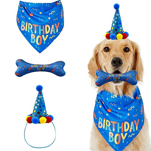 IDOLPET Dog Birthday Boy Bandana Hat Toy Set Pet Happy Birthday Party Supplies Triangle Bibs with Cute Bone Dog Birthday Scarf Accessories and Decoration for Doggy Large Dog – Blue…