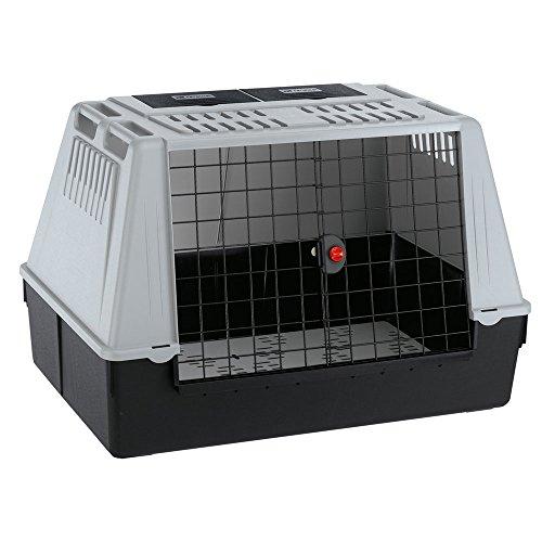 Ferplast Autotransportbox Atlas Car 100 für Hunde und Katzen – Tiertransportbox aus Kunststoff mit praktischer Zwei-Wege-Schiebetür und Zubehörfach - für Tiere bis zu 40 kg – Maße: 100 x 60 x 66cm