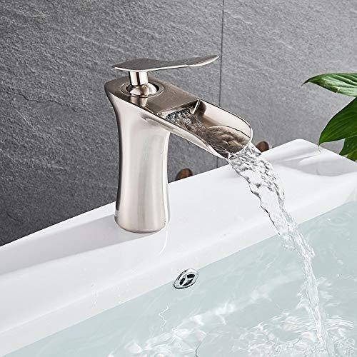 orificio Lavabo de Onyzpily de una sola manija Grifo de latón cromado blanco baño grifo del fregadero de estilo alto Caño de cascada Montaje en cubierta de un solo orificio Manija única