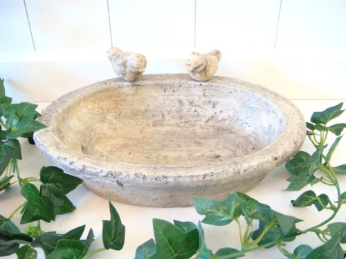 Vogeltränke aus Keramik oval Deko antik Optik Vogelbad Futter Station Futterstelle , ca. 30x20x7cm