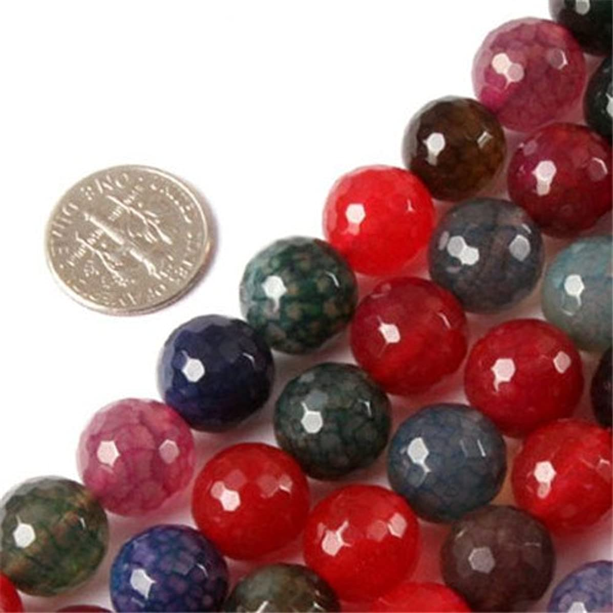 GEM-inside Mixed Colour Agate Beads Gemstone Loose Beads Natural Energy Power Beads For Jewelry Making Faceted Round 12mm 15