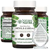 Natural Nutra Vegan Methyl B12 1000mcg Lozenges (Methylcobalamin Vitamin B 12 1000 mcg ), Supports Brain Cells, Cardiovascular and Natural Energy Booster Supplement,Gluten Free