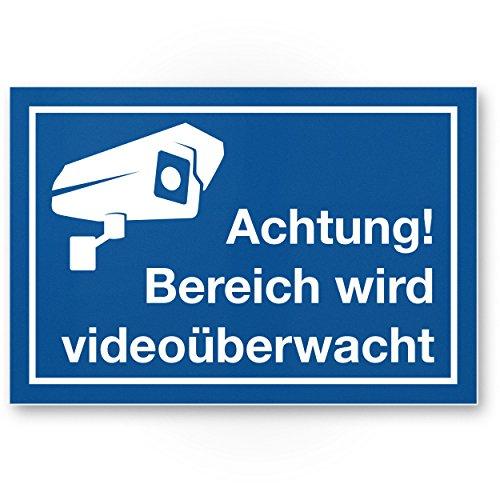 gebied videobewaking kunststof plaat (blauw, 30 x 20 cm) - Opgelet/Voorzichtig/Voorzichtig/waarschuwingsbord videobewaking - waarschuwingsbord/waarschuwing
