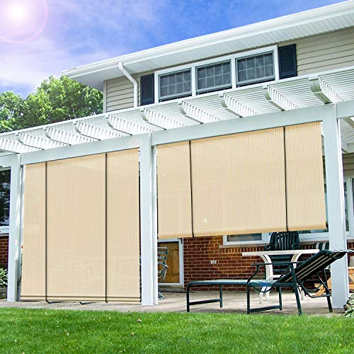 E&K Sunrise Patio Roll up Shade Roller Shade 6'Wx6'H Porch Pergola Privacy Screen Roll up Blinds Sun Shade for Deck Gazebo Patio Back Yard Outdoor Sun Shade Beige