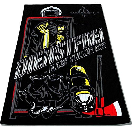 Roter Hahn 112 Feuerwehr 175x100cm Oversize Frottee Strandtuch Saunatuch Badetuch Handtuch Dienstfrei Fire & Fight Streetwear