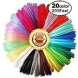 20 Beautiful Colors 3D Pen PLA Filament Refills, Each Color 10 Feet, Total 200 Feet TTYT3D