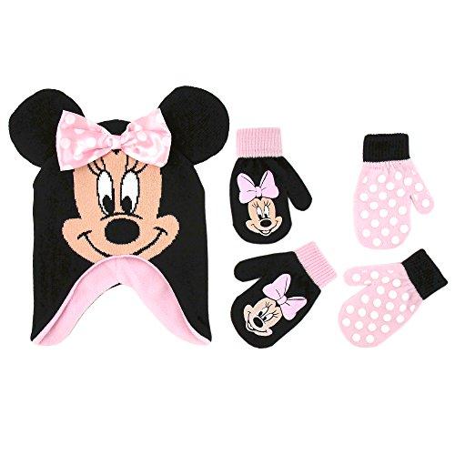 Disney Girls Minnie Mouse and Vampirina Winter Hat and 2 Pair Mitten or Glove Set (Toddler/Little Girl), Pink Minnie Mittens 2-4