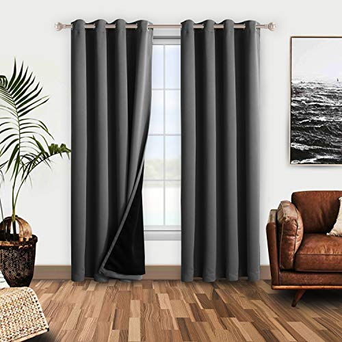 WONTEX 100% Grey Blackout Curtains for Bedroom - Thermal Insulated, Noise Reducing and Sun Blocking Lined Window Curtain Panels for Living Room, 52 x 72 inch, Set of 2 Grommet Winter Curtains